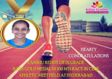 RIDGE SCHOOL-Hearty Congratulations to J.ANSHU REDDY
