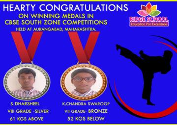 Ridge School Congratulations to taekwondo medal winners