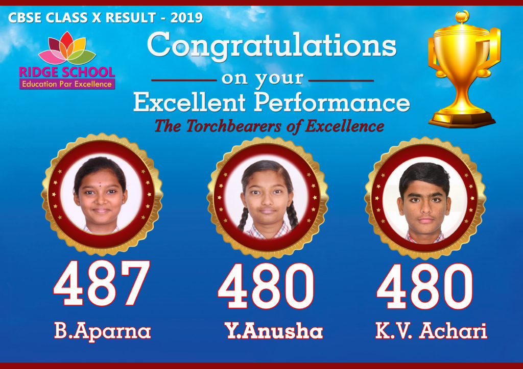 Ridge School Krunool CBSE Toppers 2018-2019